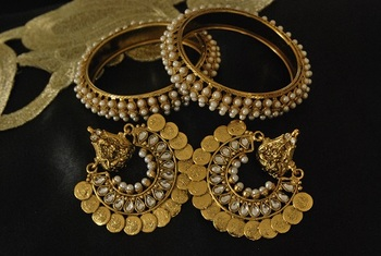 Ram Leela Kundan Earrings with Gold Plated Pearl Bangles
