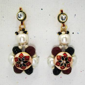 Meenakari Ball Earring with Cutting Drops (Red Black)