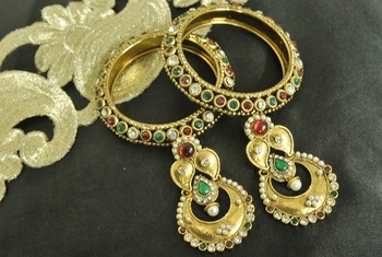 Long Earrings with Maroon & Green colour stones & Gold Plated Bangles