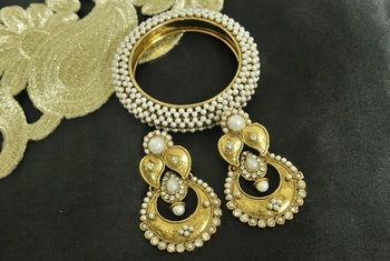 Long Pearl Earrings & Gold Plated Kada Studded with Pearl