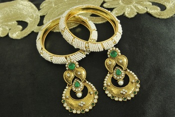 Long Green colour Earrings & Gold Plated Bangles with White colour Beads