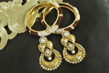 Long Pearl Earrings & Gold Plated Bangles with White & Red colour Beads