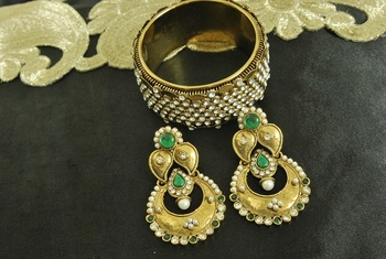 Long Green colour Earrings & Gold Plated Kada with Stones