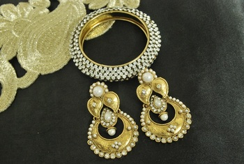 Long Pearl Earrings & Gold Plated Kada Studded with Stones