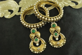 Long Green colour Earrings & Gold Plated 4pcs Pearl Bangles