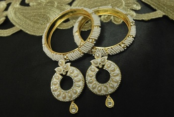 White Meenakari Earrings with Beaded Bangles