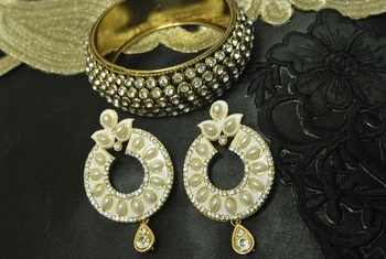 White Meenakari Earrings with Gold Plated stones Kada