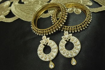 White Meenakari Earrings with Gold Plated Pearl Bangles