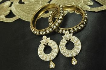 White Meenakari Earrings with Gold Plated Stone Bangles