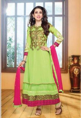 Light Green embroidered georgette  Semi Stitch party-wear-salwar-kameez