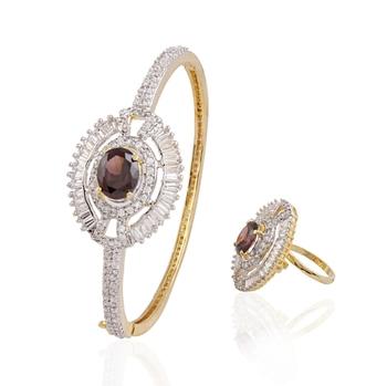 Carismatic gold plated american diamond combo