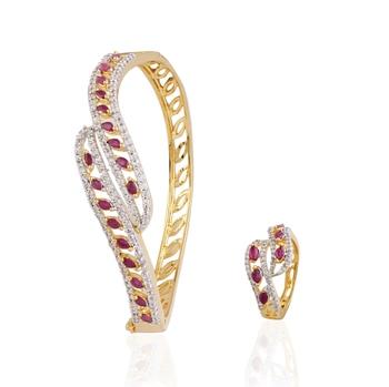 gold plated american diamond combo