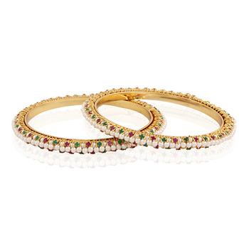 Paisley gold plated antique bangle