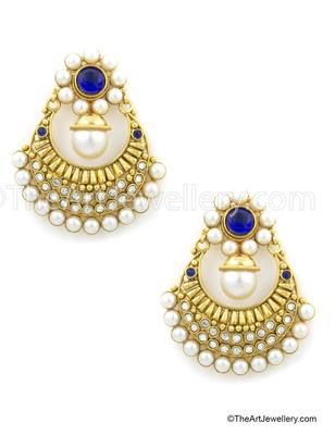 Royal Blue Traditional Rajwadi Dangle and Drop Earrings Jewellery for Women - Orniza