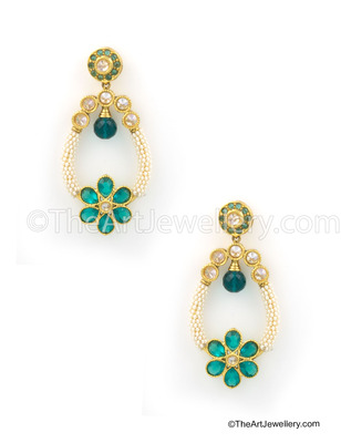 Rama Green Traditional Rajwadi Dangle Earrings Jewellery for Women - Orniza