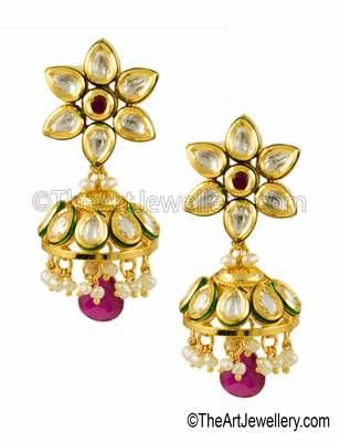 Ruby Red Vilandi Kundan Jhumki Earrings Jewellery for Women - Orniza