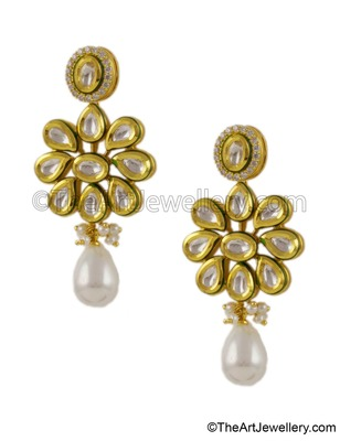 Pearl White Vilandi Kundan Dangle and Drop Earrings Jewellery for Women - Orniza