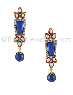 Royal Blue Antique Victorian Dangle and Drop Earrings Jewellery for Women - Orniza
