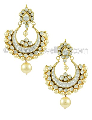 Golden Jadau Kundan Dangle and Drop Earrings Jewellery for Women - Orniza