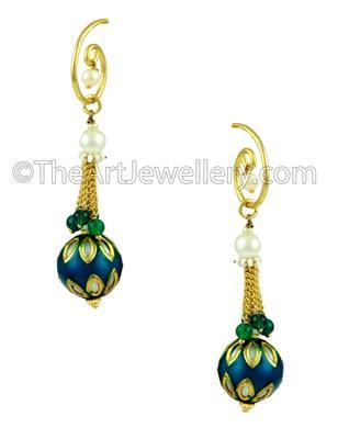Rama Green Traditional Rajwadi Dangle and Drop Earrings Jewellery for Women - Orniza