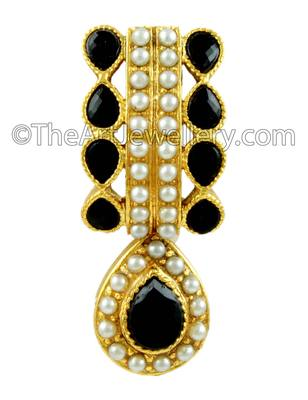 Black Traditional Rajwadi Drop Earrings Jewellery for Women - Orniza