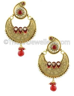 Ruby Red Traditional Rajwadi Dangle and Drop Earrings Jewellery for Women - Orniza