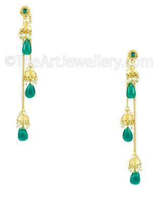 Rama Green Traditional Rajwadi Jhumki Earrings Jewellery for Women - Orniza