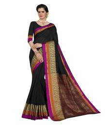 Black woven chanderi silk saree with blouse