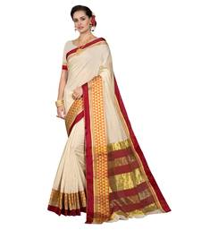 Buy Off white woven chanderi silk saree with blouse traditional-saree online