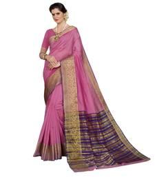 Buy Pink woven chanderi silk saree with blouse women-ethnic-wear online