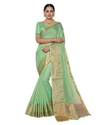 Buy Green woven chanderi silk saree with blouse traditional-saree online