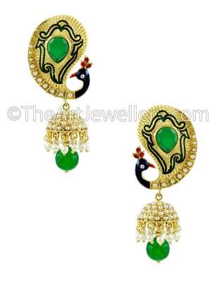 Peacock Emerald Green Traditional Rajwadi Jhumki Earrings Jewellery for Women - Orniza