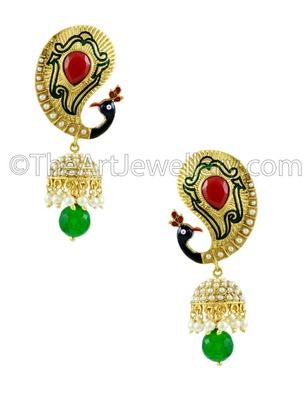 Peacock Red Green Traditional Rajwadi Jhumki Earrings Jewellery for Women - Orniza