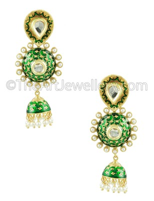 Green Traditional Rajwadi Jhumki Earrings Jewellery for Women - Orniza