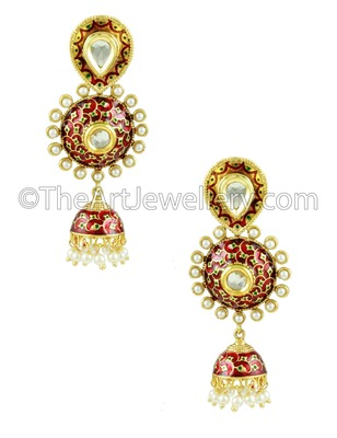 Maroon Red Traditional Rajwadi Jhumki Earrings Jewellery for Women - Orniza