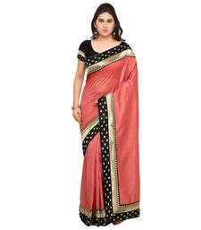 Buy Coral woven banarasi silk saree with blouse banarasi-saree online