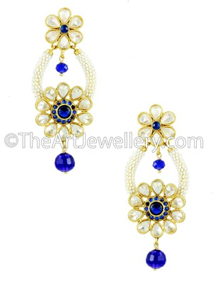 Royal Blue Polki Stones Dangle and Drop Earrings Jewellery for Women - Orniza