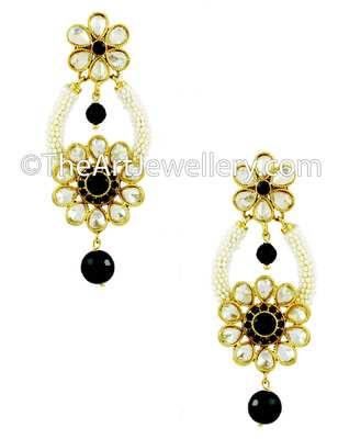 Black Polki Stones Dangle and Drop Earrings Jewellery for Women - Orniza