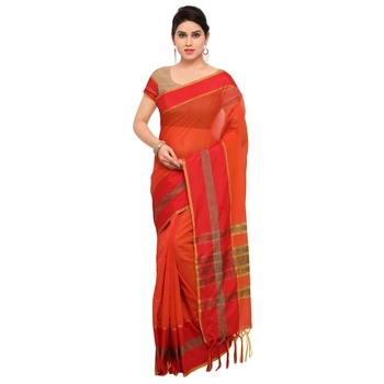 Orange maheshwari saree with blouse