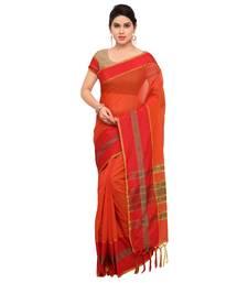 Buy Orange woven cotton silk saree with blouse maheshwari-saree online