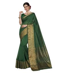 Buy Green woven chanderi silk saree with blouse great-indian-saree-festival online