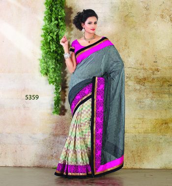GREY & PINK FANCY DESIGNER SAREE