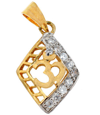 Hot Gold American Diamond Om Pendant
