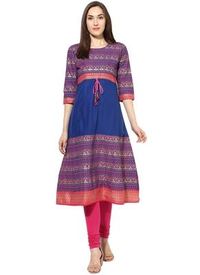 royal_blue Printed cotton stitched kurti