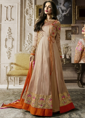Light Beige Multi Resham Work Silk Salwar With Dupatta