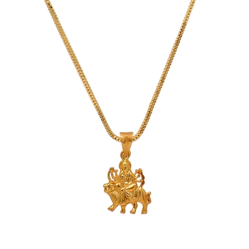 buy gold color durga maa temple locket online