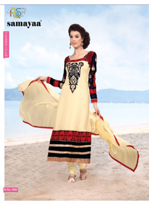 Evelyn Red & Beige Coloured Georgette  Embroidered Dress Material