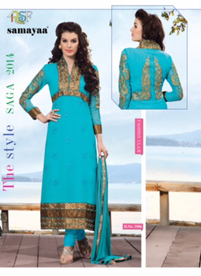 Evelyn Sky Blue Coloured Georgette  Embroidered Dress Material