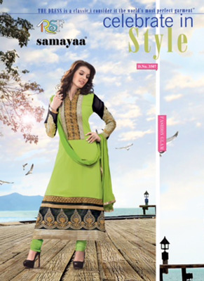 Evelyn Light Green & Black Coloured Georgette  Embroidered Dress Material