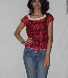 Buy Pink lace pearl embroidered sheer top top online